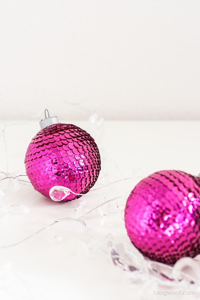 Gorgeous sequin ornaments from www.1dogwoof.com