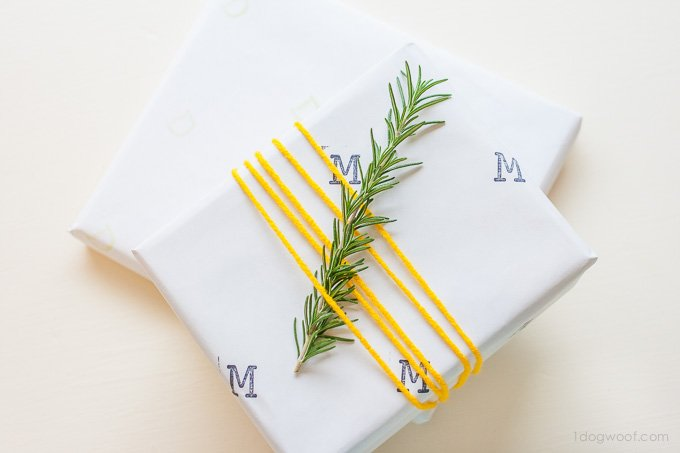 Easy stamped gift wrap | www.1dogwoof.com