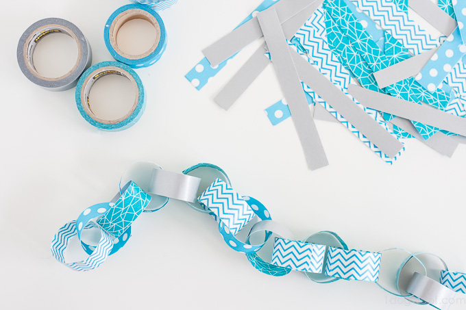 How to make a paper chain garland from washi tape. | www.1dogwoof.com