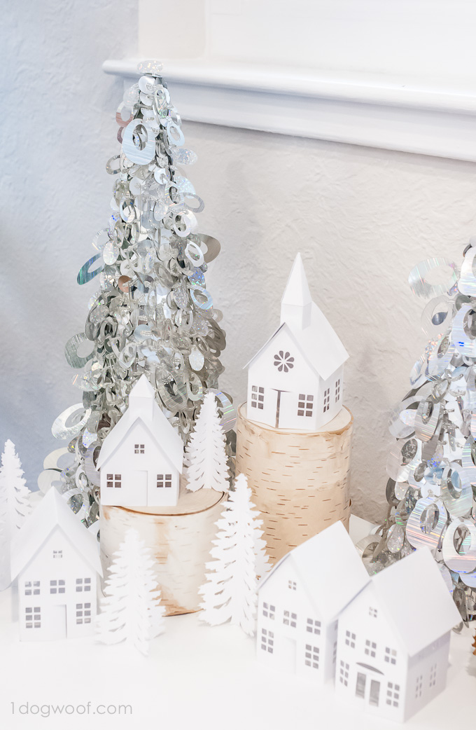 Beautiful winter village display! Made with Silhouette Cameo | www.1dogwoof.com
