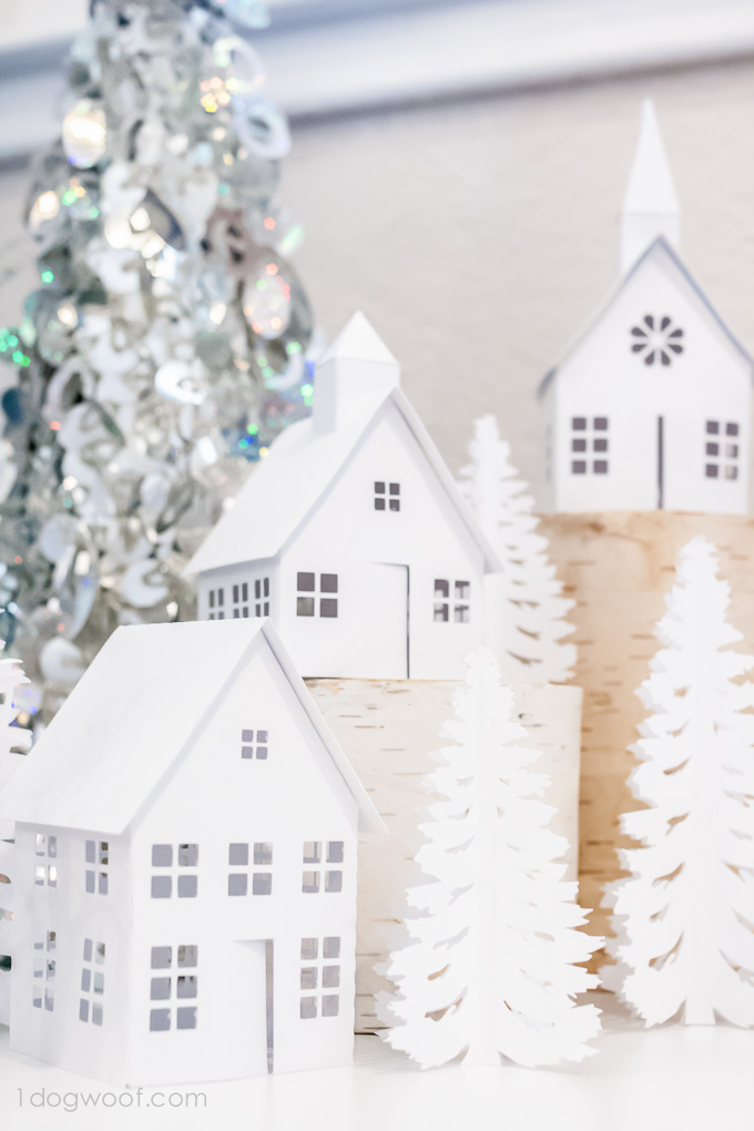 Love these darling houses in this winter village display! Houses cut with Silhouette Cameo | www.1dogwoof.com