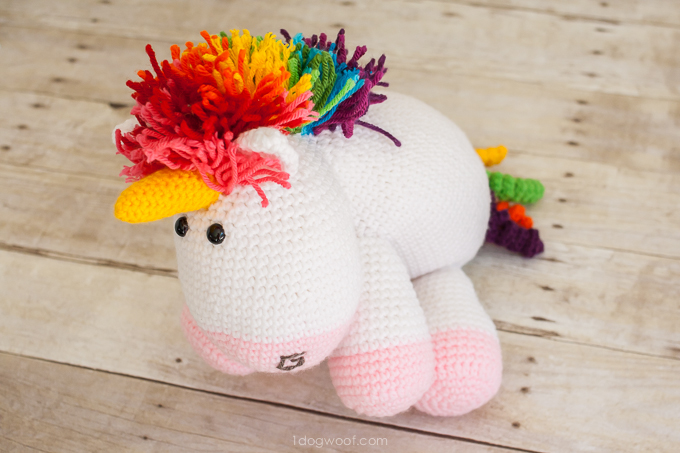 Rainbow Cuddles Crochet Unicorn Pattern - One Dog Woof