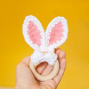 Crochet Bunny Ears Wooden Teether