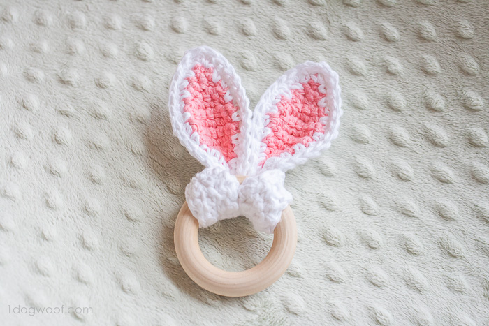 Crochet bunny ears teether | www.1dogwoof.com