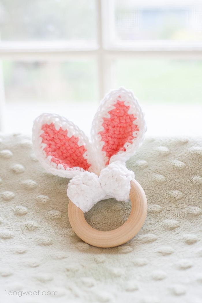 Crochet bunny ears wooden teether | www.1dogwoof.com