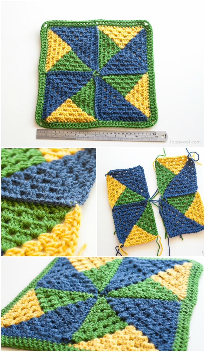 Make a crochet pinwheel afghan square! via 1dogwoof