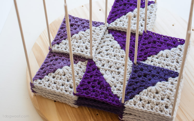 Wooden crochet blocking station | www.1dogwoof.com
