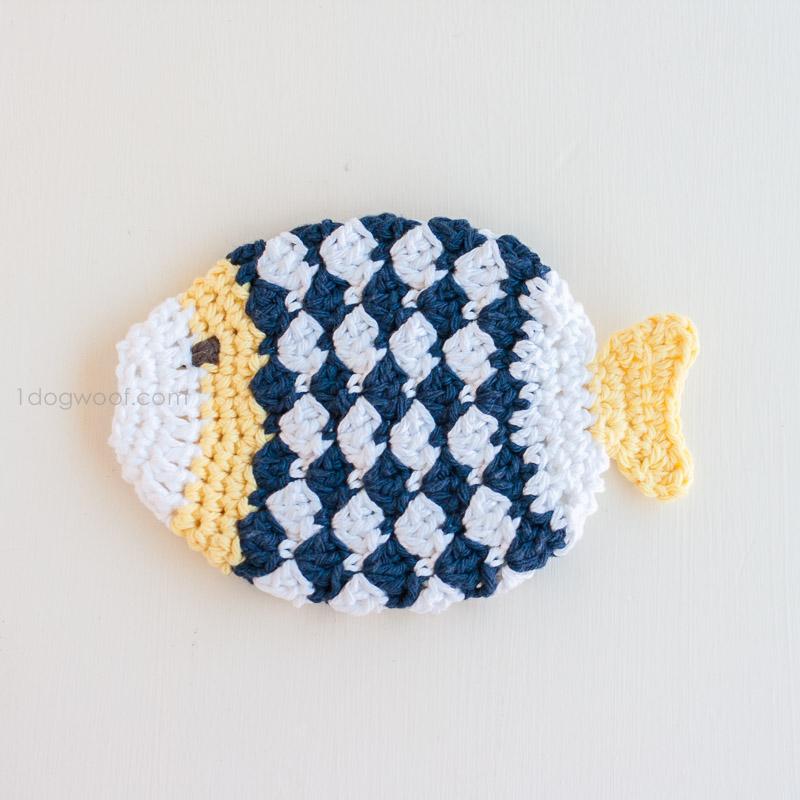 Free Crochet Fish Potholder Pattern : Crochet Fish Scrubbie Washcloths - One Dog Woof