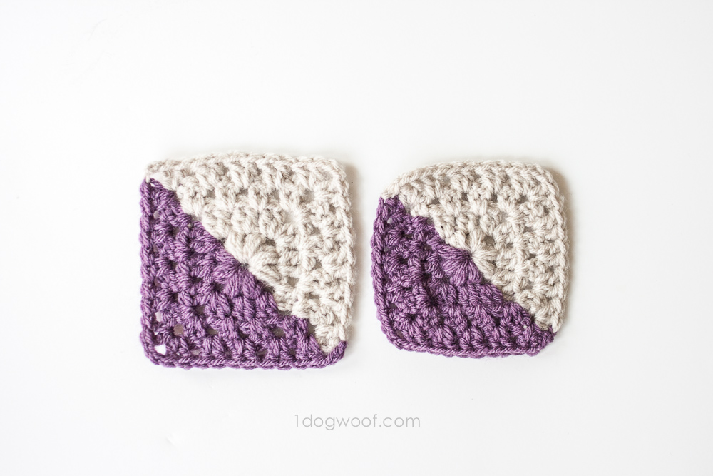 Blocked vs non-blocked granny square | www.1dogwoof.com