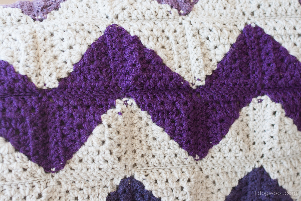 Granny Squares Chevron Afghan Crochet Pattern One Dog Woof