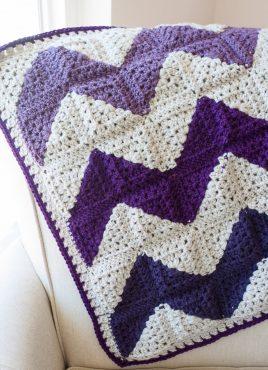 Granny Squares Chevron Afghan Crochet Pattern