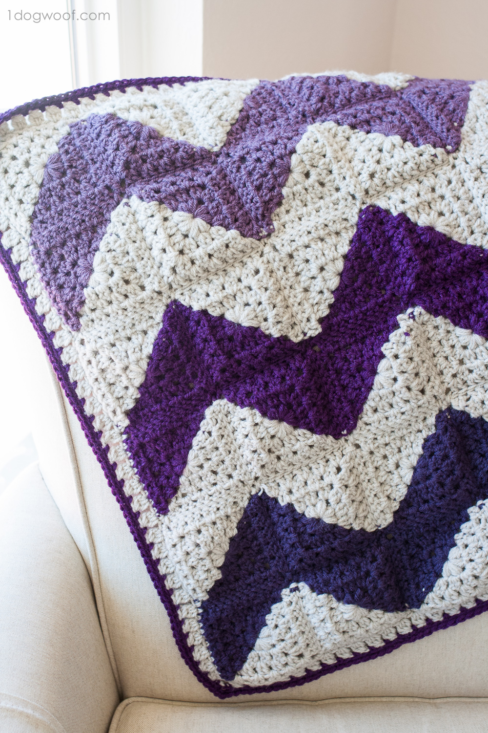 Granny Squares Chevron Afghan Crochet Pattern - One Dog Woof