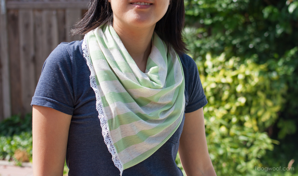Add a lace edging to a soft jersey knit scarf! www.1dogwoof.com