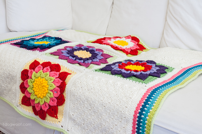 My Labor Of Love Crocodile Flower Afghan One Dog Woof