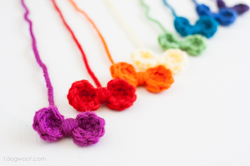 A rainbow of crochet mini bows. | www.1dogwoof.com