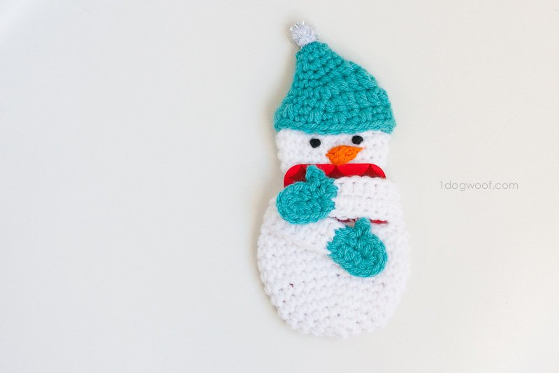 Snowman Gift Card Holder Crochet Pattern One Dog Woof