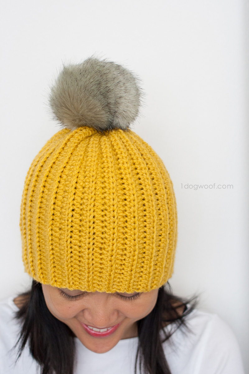 Make this easy ribbed crochet beanie in just a few hours. Free pattern included. | www.1dogwoof.com