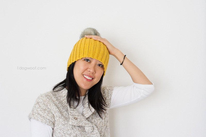 Lolly-Poms Easy Ribbed Crochet Beanie | www.1dogwoof.com