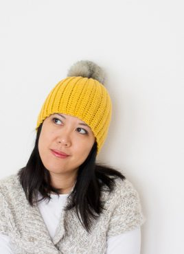 Lolly-Poms Easy Ribbed Crochet Beanie