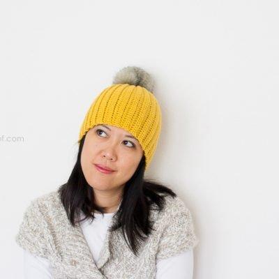Lolly-Poms Easy Ribbed Crochet Beanie