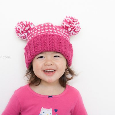 Lolly-Poms Sweetheart Crochet Beanie