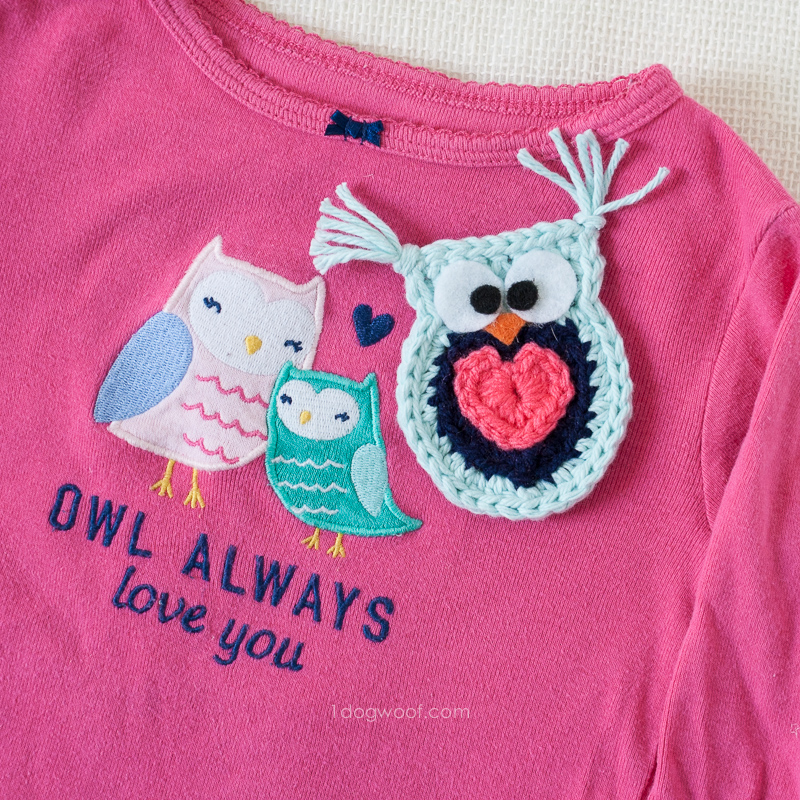 'Owl Always Love You' crochet owl applique | www.1dogwoof.com