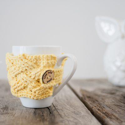 Woven Cables Mug Cozy Crochet Pattern