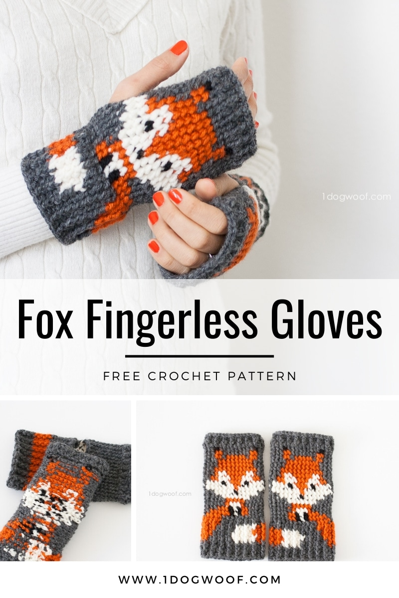 free fox fingerless gloves crochet pattern
