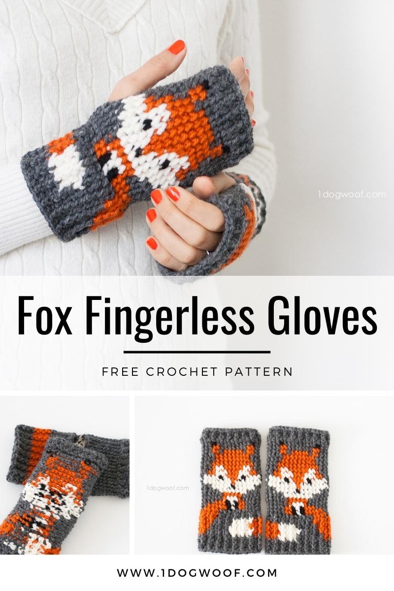 free fox fingerless gloves crochet pattern