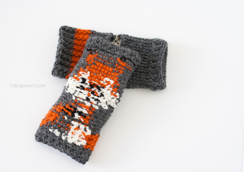 The inside of fingerless gloves showing colorwork detail