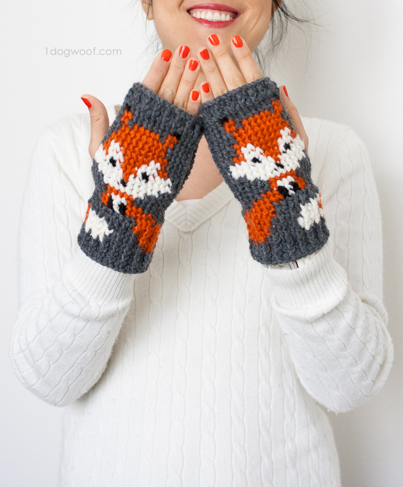 fox themed crochet handwarmers