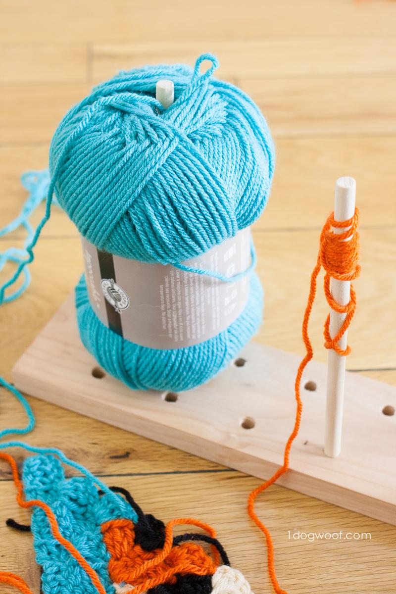 Each bobbin can fit a full skein of yarn.