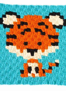 Zoodiac tiger made using c2c crochet | www.1dogwoof.com