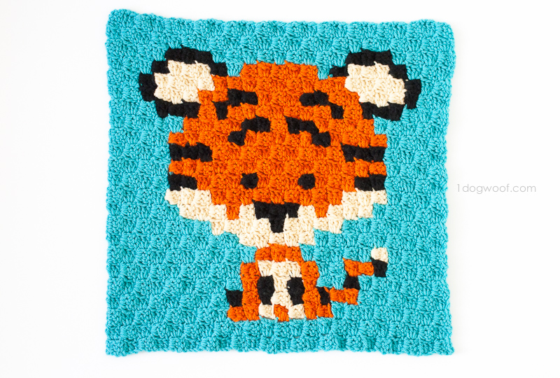 Zoodiacs tiger made using c2c crochet | www.1dogwoof.com