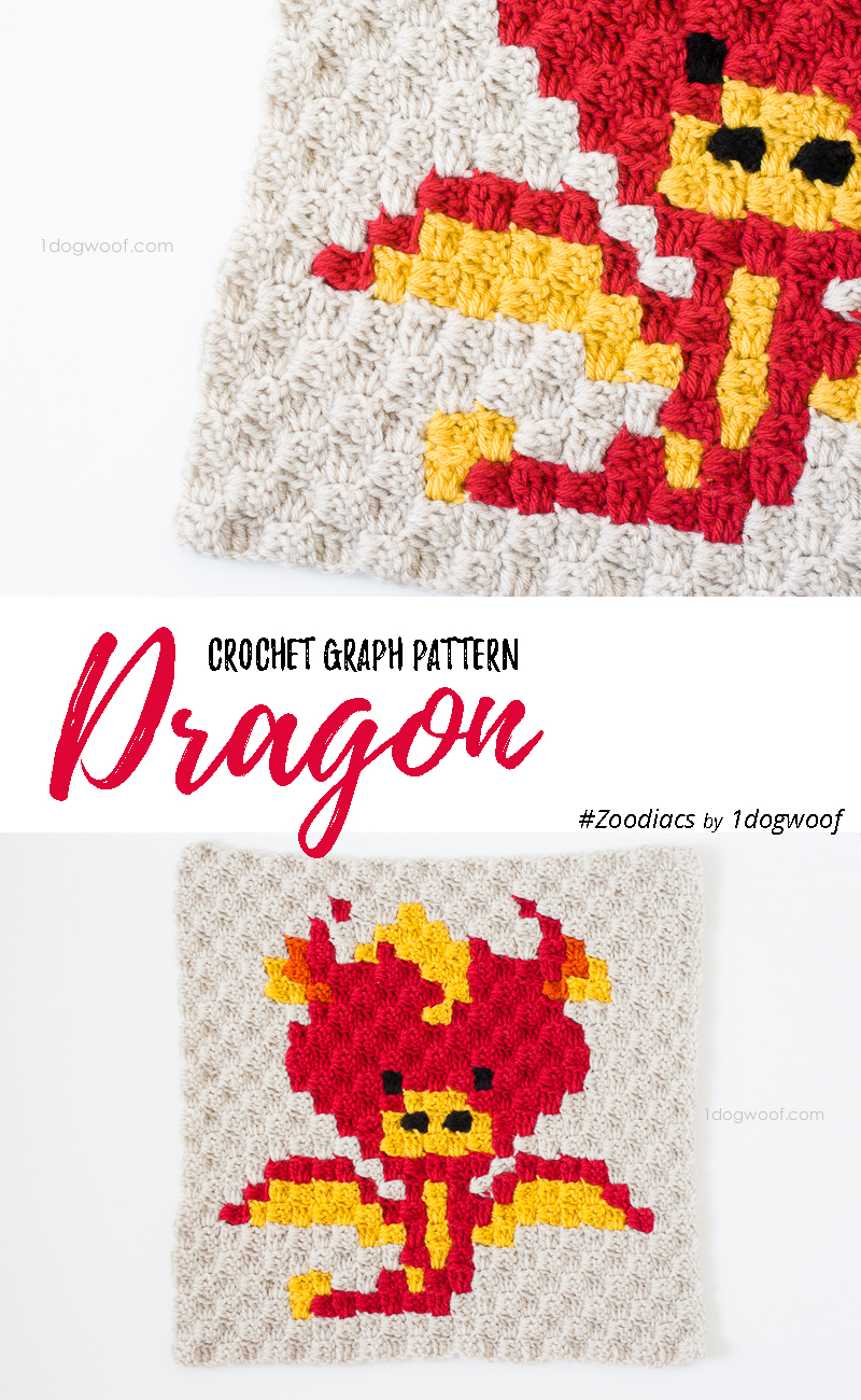 Zoodiacs dragon made using c2c crochet | www.1dogwoof.com