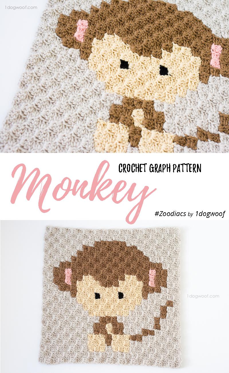 Zoodiacs monkey made using c2c crochet | www.1dogwoof.com