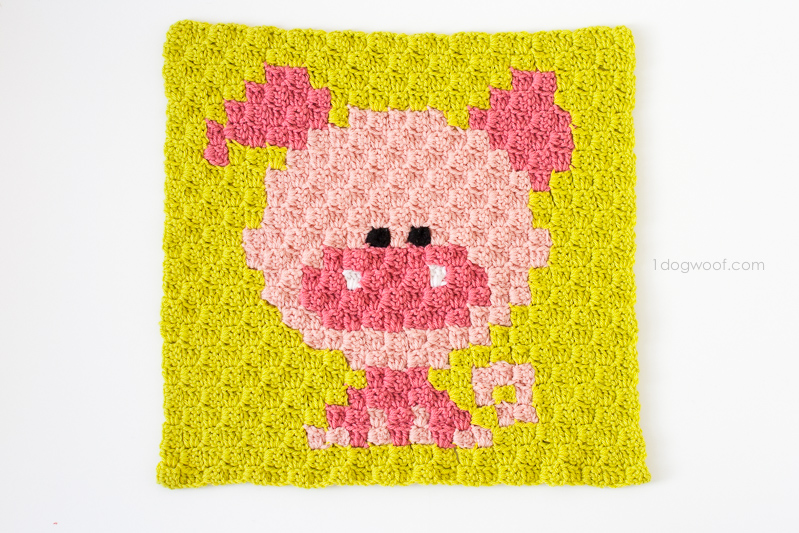 Zoodiacs pig made using c2c crochet | www.1dogwoof.com