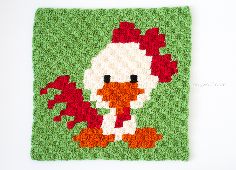 Zoodiacs Rooster C2C Crochet Graph