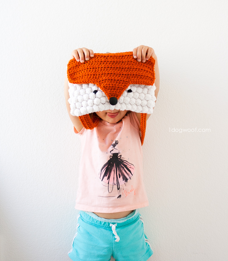 Fox head shaped purse, crochet pattern by 1dogwoof