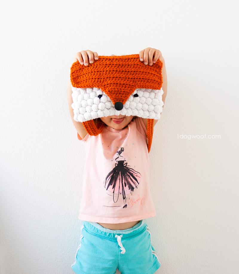 Fox head shaped purse, crochet pattern by 1dogwoof