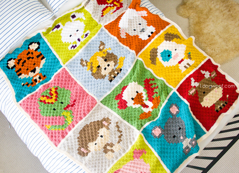 Zoodiacs C2C Crochet Afghan - One Dog Woof