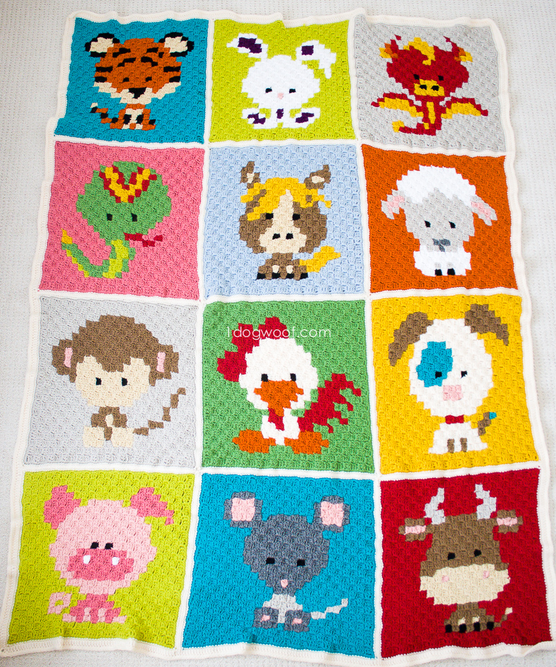 Crochet Stitches C2c : Zoodiacs c2c Crochet Afghan - free crochet patterns www.1dogwoof.com