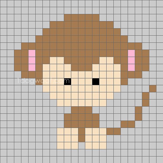 Zoodiacs Monkey C2C Crochet Graph - One Dog Woof