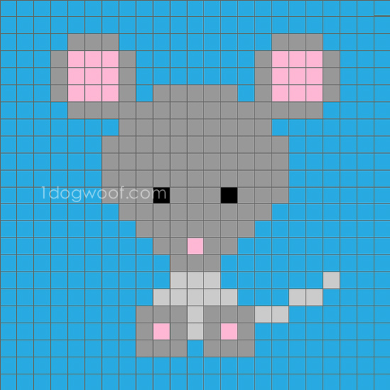 Zoodiacs Mouse C2C Crochet Graph - One Dog Woof