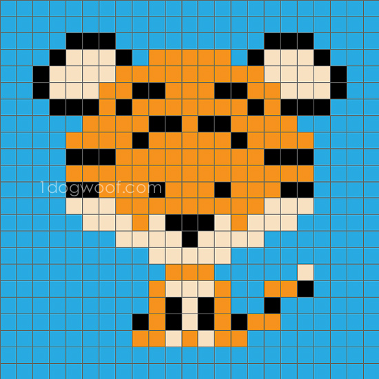 Zoodiacs Tiger C2C Crochet Graph - One Dog Woof