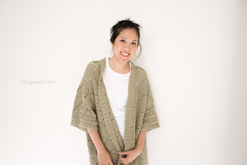 Knitting Pattern For Kimono Cardigan : Summer Diamonds Kimono Cardigan - One Dog Woof