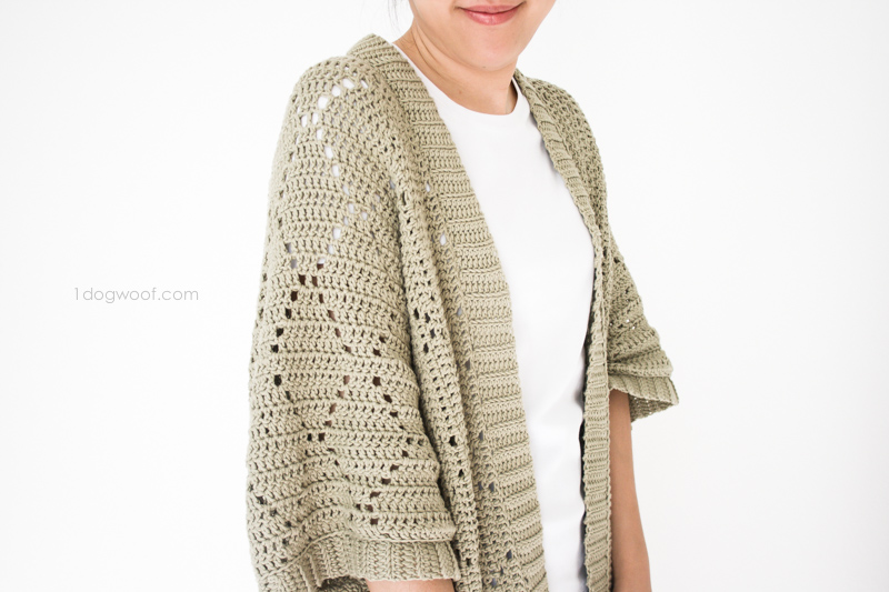 Free Crochet Patterns For Kimono Sweater : Summer Diamonds Kimono Cardigan - One Dog Woof