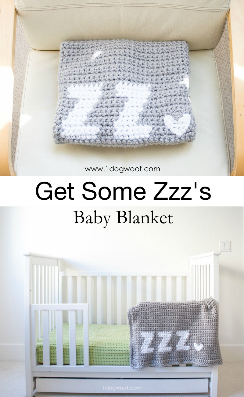 Get some Zzz's crochet baby blanket - a fun and easy crochet project for beginners! www.1dogwoof.com