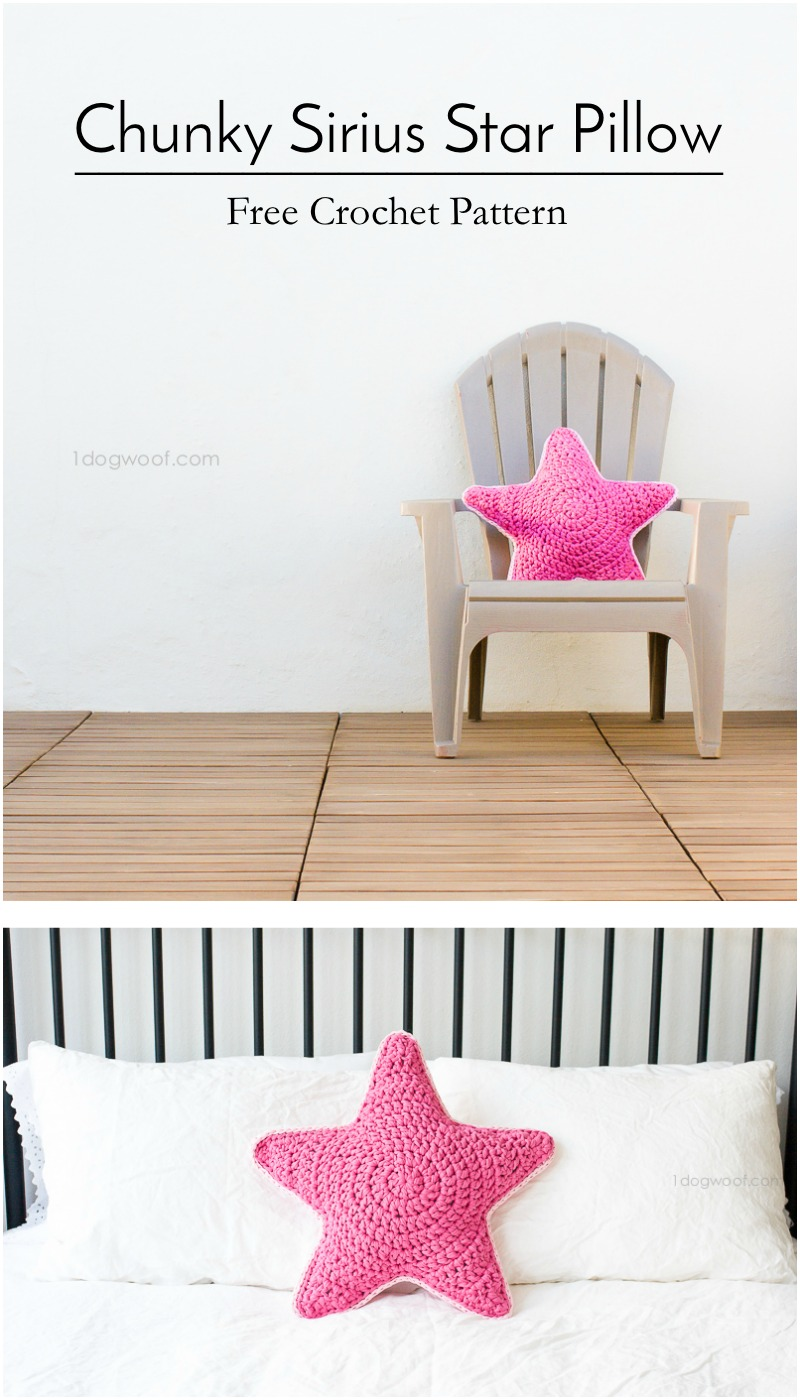This crochet Sirius Star Pillow, using fabric/t-shirt yarn is a sirius(ly) fun and easy project to whip up over a weekend! Includes free pattern.