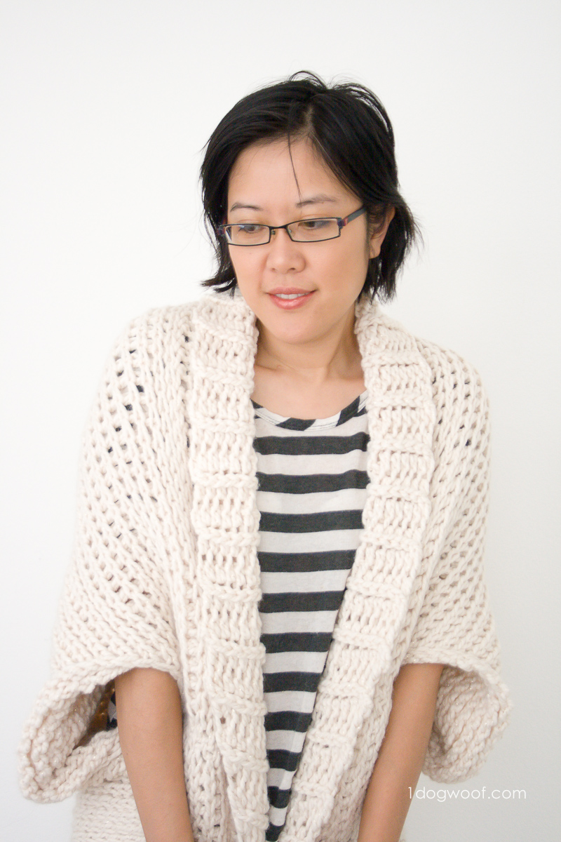 Super cozy Starlight Shrug, crochet pattern using Tunisian Knit Stitch